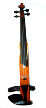 Mountaineer VI M2 Travel Violin by D Rickert Front view 2 with chin rest