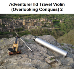Travel violin on rocks 2
