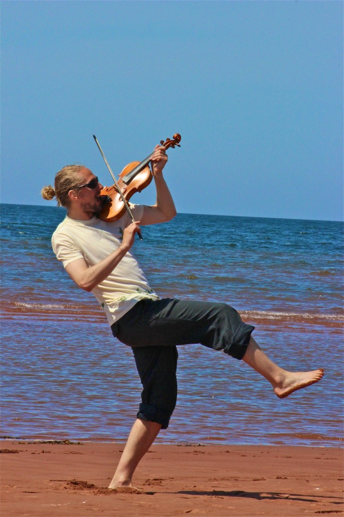 Fiddling on the beach image