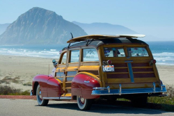 Surfing woody wagon